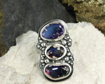 Amazing Boulder Opal ring, Adjustable ring - Handmade B0486