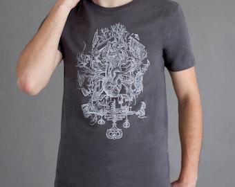 Heart Tee-shirt - Anatomic heart -  anatomy Tee - Heart and key tee - Organic T-shirt - Handmade -