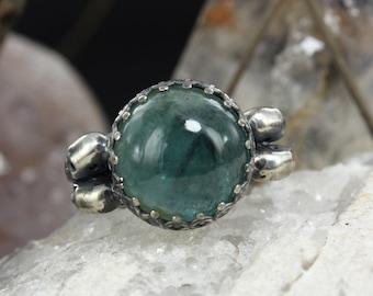 Aquamarine ring - Skull ring - Dia de la muerte ring - Mexican skull ring - Handmade B0089