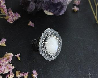 Rainbow Moonstone ring - Sterling silver ring - Bridal ring - Boho ring - Handmade B0241