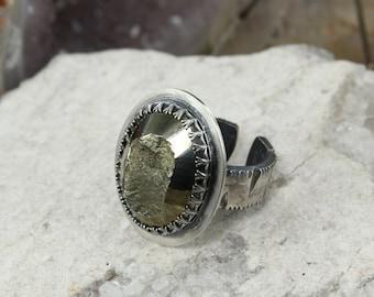Pyrite ring - Boho style ring - Healing ring - Statement ring - Raw ring - Handmade B0139