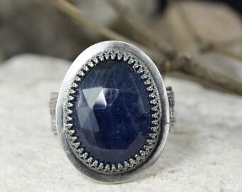 Sapphire ring - Boho style ring - Healing ring - Statement ring - Engagement ring - Handmade B0060
