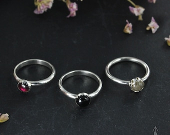 Set of 3 stackable rings in sterling silver and gemstone, pick your size - Handmade B0270