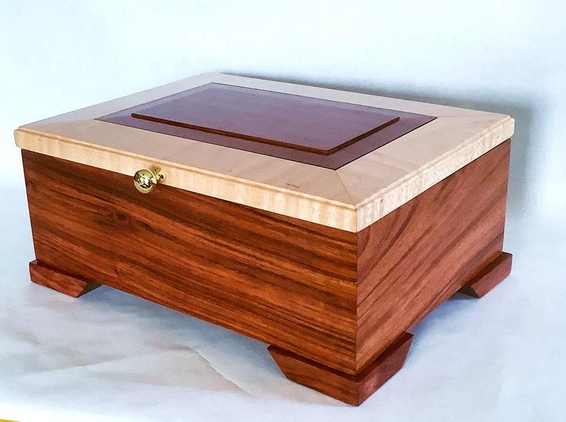 Bubinga Man or Women/'s Handmade Jewelry box black velvet ring box,Large Valet box raised panel top with Curly Maple Trim engraving available