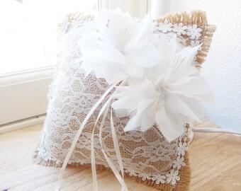 Romantic and rustic wedding ring cushion