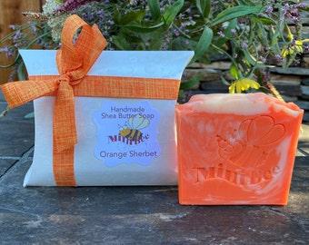 ORANGE SHERBET Shea Butter Soap, Handmade Soap, Cold Process Soap, Moisturizing