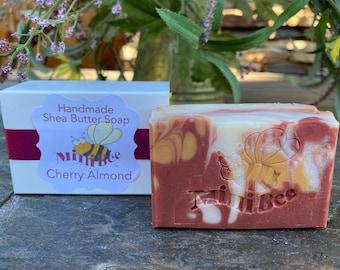 CHERRY ALMOND Shea Butter Soap, Handmade Soap, Cold Process Soap, Moisturizing
