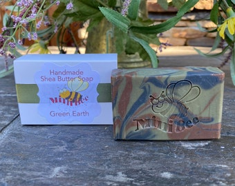 GREEN EARTH Shea Butter Soap, Handmade Soap, Cold Process Soap, Moisturizing
