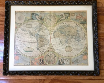 Vintage framed world maps etsy gumiabroncs Image collections