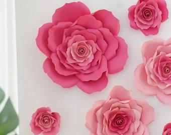 Pink Paper Flower Set - Pink Paper Flowers - Floral Backdrop - Girls Birthday Flower Backdrop -Paper Roses- Garden Party Decor-Wedding Roses