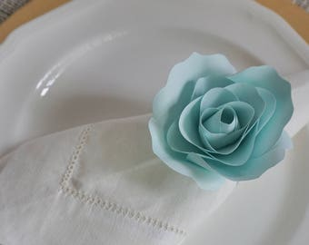 Handmade Paper Flowers Napkin Ring - Teal Paper Roses - Floral Table Decor - Paper Rose Table Setting - Teal Babyshower Decor -Wedding Decor