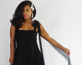 Black Dress with Tulle Bows - Glamorous BabyShower Gown - Black Babyshower Dress - Best Maternity Photoshoot Dresses - Wedding Guest Dresses