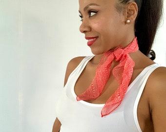 Silk Neck Scarf - Red Print Silk Scarf - Silk Chiffon Scarf - Silk Square Scarf  - Handkerchief - Silk Scarf - Tribal Print Chiffon Scarf