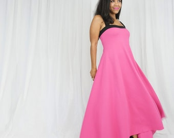 Hot Pink Dress - Pink Maxi Dress - Pink Baby Shower Dress - Pink and Black Gown - Maternity Photoshoot Gown - Maternity Friendly Dresses