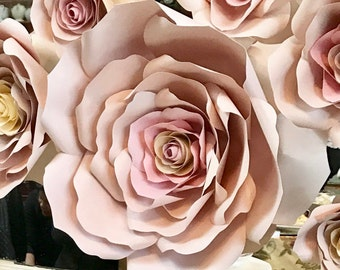 Handmade Paper Flowers - Paper Roses - Floral Backdrop - Baby Shower Flower Backdrop - Handmade Paper Roses - Party Decor - Wedding Roses