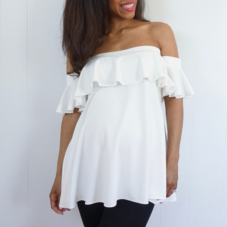 Strapless Maternity Top with Ruffle Detail  Ruffle Sleeve image 0