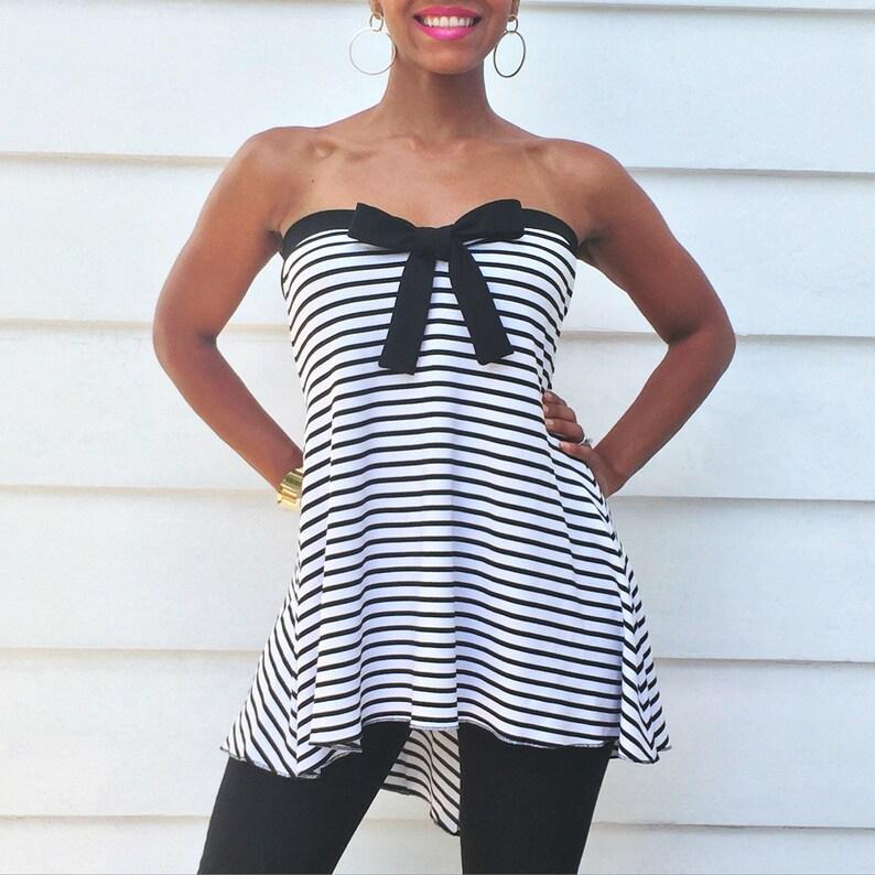 Black and White Stripe Maternity Top  Strapless Shirt w Black image 0
