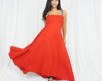 Red Dress with Straps - Red Maxi Dress - Red Baby Shower Dress - Classic Red Gown - Red Dresses - Red Maxi Dress -Maternity Photoshoot Dress