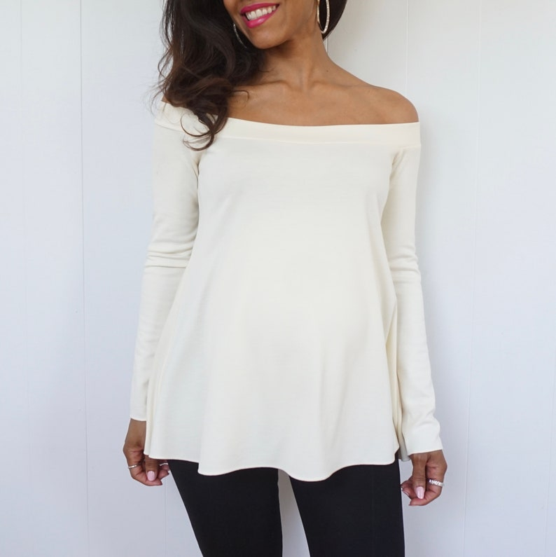 Vintage Maternity Clothes History Ivory Off the Shoulder Top - Long Sleeve Maternity Shirt - Ivory Maternity Shirt - Flared Off Shoulder Shirt - Dressy Top - Stylish Bump Top $55.00 AT vintagedancer.com