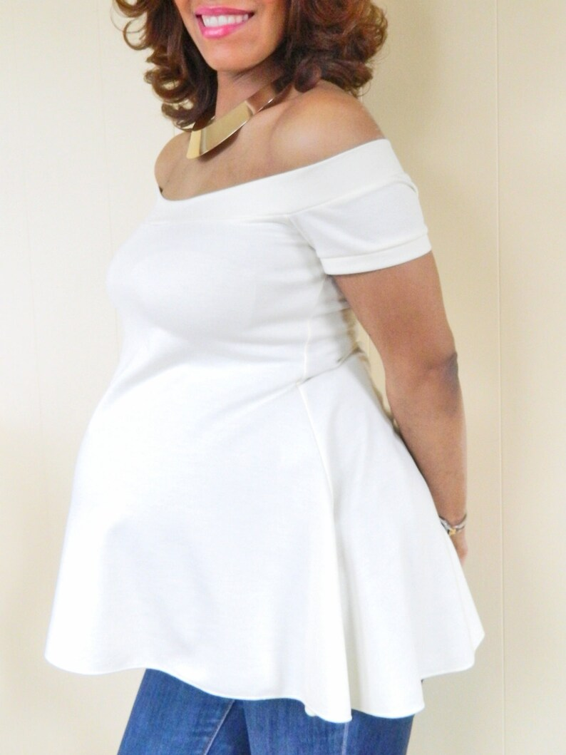 f5c39989a4613 Short Sleeve Off the Shoulder Maternity Top Ivory Maternity
