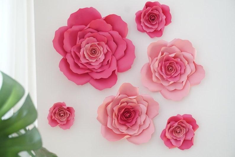 Pink Paper Flower Set  Pink Paper Flowers  Floral Backdrop  image 0