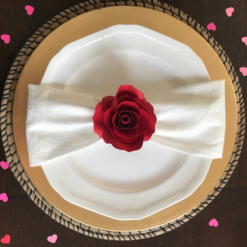 Handmade Paper Flowers Napkin Ring  Red and Pink Paper Roses image 0