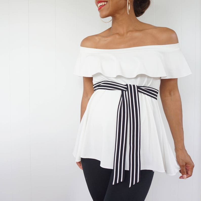 Maternity Shirts  White Off Shoulder Top with Ruffle Detail  image 0