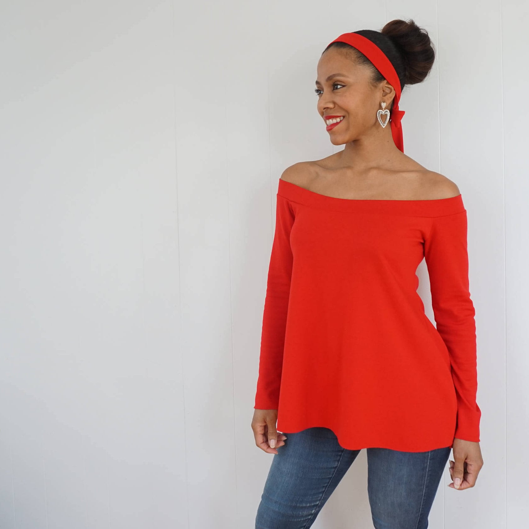 b430df85ee6 Red Off the Shoulder Top Long Sleeve Maternity Shirt Red | Etsy