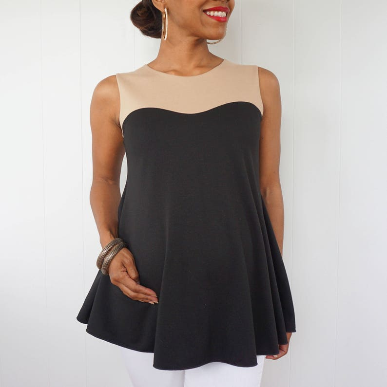 Black Maternity Top with Sweetheart Detail  Black and Tan image 0