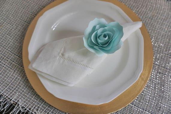 Handgeschopftes Papier Blumen Serviette Ring Petrol Papier Etsy