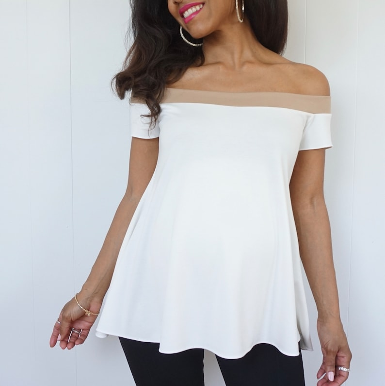 Short Sleeve Off the Shoulder Maternity Top  White Maternity image 0