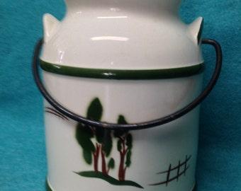 Brock Pottery Farm House Cookie Jar Pail Metal Handle W Lid