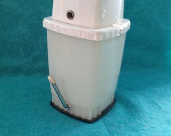 Vintage Swing-A-Way Original 1950's Ice Crusher Counter Top Version in White Plastic and Chrome Metal