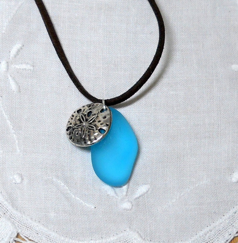 Leather necklace beach necklace seaglass pendant silver sand dollar pendant jewelry Handmade in the USA Boho leather necklace