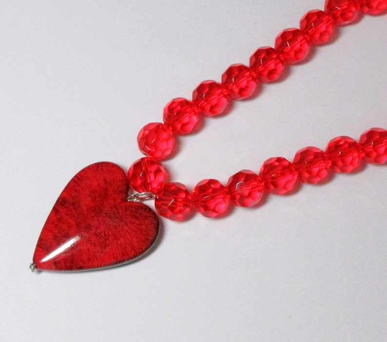 Gift for Wife by BethExpressions Red Beaded Necklace with Red Heart Pendant Valentines Day Jewelry