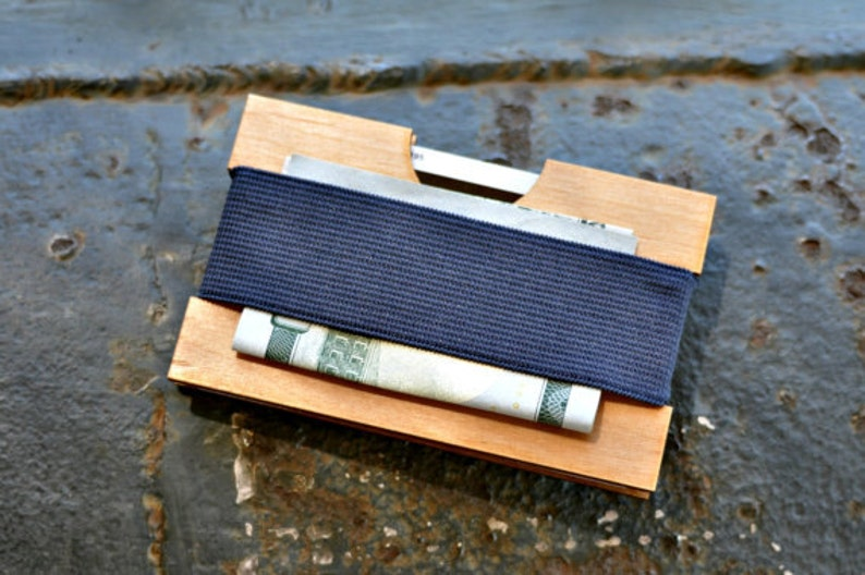 Wooden Wallet Minimalist Front Pocket Wallet by LiahonaLaser on Etsy Classic Modern Credit Card Sized