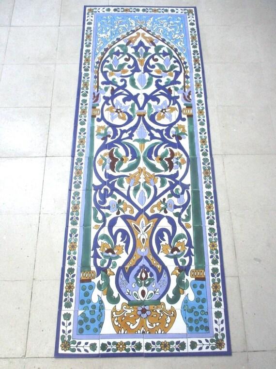 "12/"" x 18/"" Hand painted Peacocks Ceramic tile Art  Wall mural panel Backsplash"