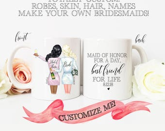 Custom Portrait BRIDESMAID mugs / Bride with Bridal Party Holding Champagne / Customize Hair, Skin, Robes, Names, Back / TOTALLY CUSTOM