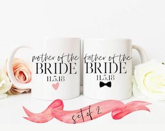 Mother and Father Wedding Mug Set / Great Gift for Mom and Dad Bride Groom / Present Favor for Parent 11 oz or 15 oz Ceramic Dishwasher Safe