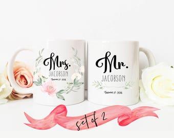 PERSONALIZED Mr. & Mrs. Coffee Mug Set / Custom Name and Date / Pastel Floral Wreath Newlywed Gift Wedding Bride Groom / Dishwasher Safe