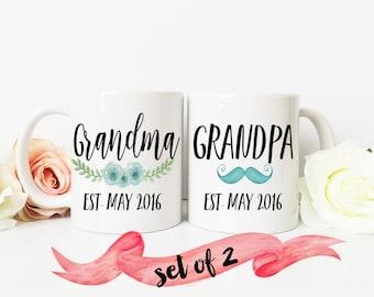 Pregnancy Reveal / Grandma an Grandpa Est. with custom date set of TWO mugs / Ceramic / Dishwasher Safe