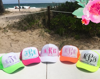 3fdc0a6e43f Neon Monogram Hats   Trucker Hat   Bachelorette Party   Bridesmaids Bridal  Party   Vacation   Any Font Color Completely Custom