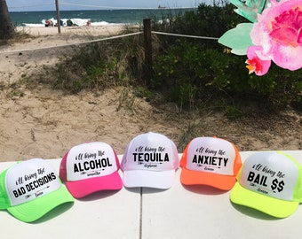 NEON I'll Bring Bachelorette Party Hat / Totally Customizable Trucker Cap / Pool Party / Vegas Miami / Beach Vacation / Bridesmaid Hat / Hen