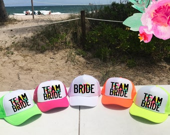Neon CUSTOM Bachelorette Hats / FLORAL background with Custom Saying Trucker Hat / Bridal Party / Bridesmaids Maid of Honor / Pool