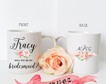 BRIDESMAID Proposal Mug / Wedding Gift Initials Front and Back with Date & Name Personalization / Proposal Maid of Honor Matron of Honor