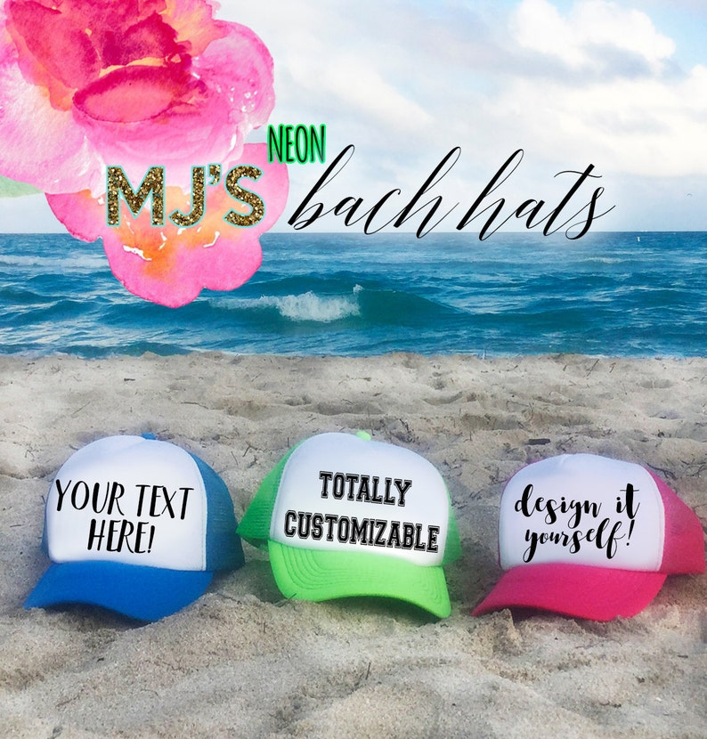 NEON Bachelorette Party Hat / Totally Customizable Trucker Cap image 0
