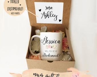 Bridesmaid Proposal Mug GIFT Box / Flap Present Box / No Tape Required / Easy Assembly / Fits 11oz & 15oz mugs / Mug sold separately