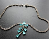 60s Rhinestone Necklace with blue and clear stones