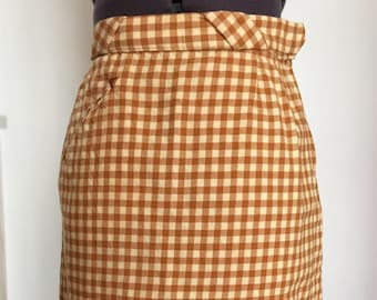 1960s Gold Gingham Check Pencil Skirt XS