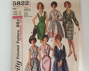 Simplicity 5822 1964 Dress Sewing Pattern Size 12 Bust 32""